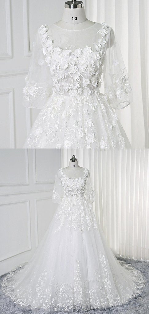 Lace Wedding Dresses Scoop Aline 3d Flowers Romantic 3 4 Length