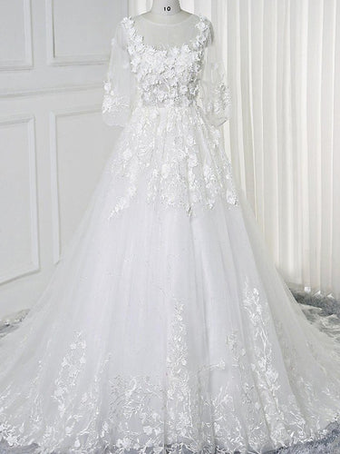 Lace Wedding Dresses Scoop Aline 3D Flowers Romantic 3/4-Length Sleeve White Bridal Gown JKW380|Annapromdress