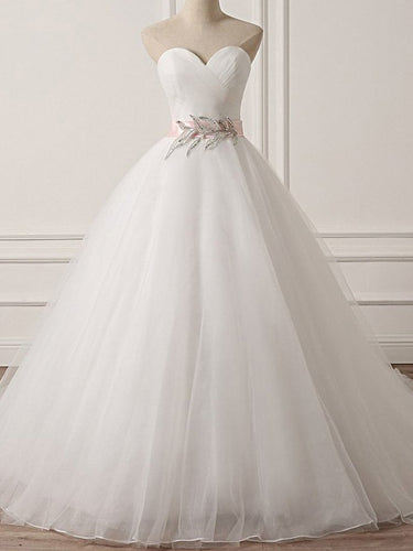 Beautiful Wedding Dresses with Sashes Ball Gown Sweetheart Brush Train Organza Bridal Gown JKW381|Annapromdress