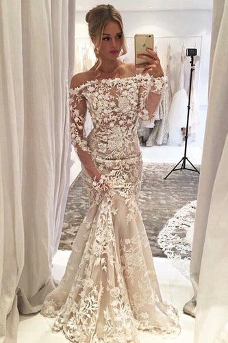 Mermaid Off-the-Shoulder Long Sleeves Ivory Tulle Wedding Dress with Appliques JKW9001