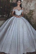 Ball Gown Off-the-Shoulder Court Train Ivory Satin Wedding Dress with Appliques JKW9002