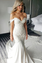 Mermaid Off-the-Shoulder Chapel Train White Satin Wedding Dress with Appliques JKW9004