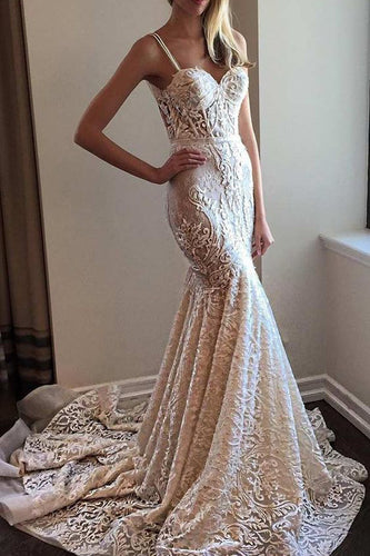 Exquisite Spaghetti Straps Mermadi Lace Wedding Dress with Sweep Train JKW9005