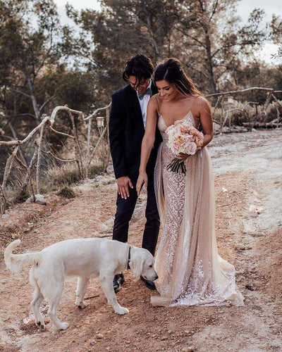 Deep V-Neck Spaghetti Straps Sparkly Wedding Dress,LKZ6114|Annapromdress