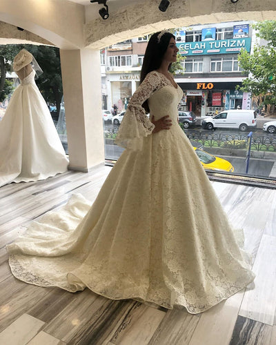 Ball Gown V-Neck Long Sleeve Exquisite Lace Wedding Dress Bridal Gown,JKZ6115|Annapromdress