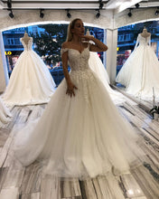 Ball Gown Off-the-Shoulder Lace Appliques Princess Wedding Dress,JKZ6116|Annapromdress