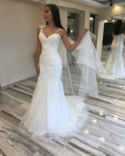 Exuqisite Lace Appliqued Beaded Mermaid Wedding Dress with Sweep Train,JKZ6118|Annapromdress