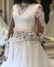 Muslim High Neck Long Sleeve Lace Appliques Rustic Wedding Dress,JKZ6119|Annapromdress