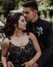 Scoop Tulle Appliques with Beading Black Wedding Dress Long Prom Dress,JKZ6124|Annapromdress