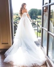 Off-the-Shoulder Lace Appliques Modest Tulle Princess Wedding DRESS,JKZ6130|Annapromdress