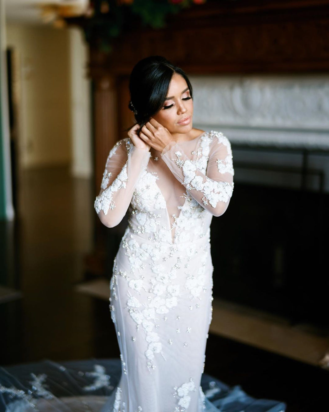Chic Embroidery Appliques Long Sleeve Romantic Mermaid Wedding Dress,JKZ6131|Annapromdress