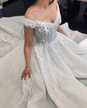 Ball Gown Off-the-Shouler Appliques Beaded Princess Wedding Dress,JKZ6133|Annappromdress