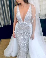Sexy Deep V-Neck Luxury Beaded Mermaid Wedding Dress with Detachable Train,JKZ6134|Annapromdress