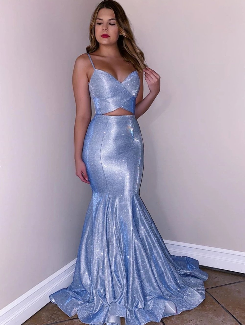 Spaghetti Straps V-Neck Blue Two Piece Prom Dress Glitter,JKZ7111|Annapromdress