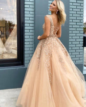 Cap Sleeve Champagne Tulle Appliques A-Line Long Prom Dress JKB038