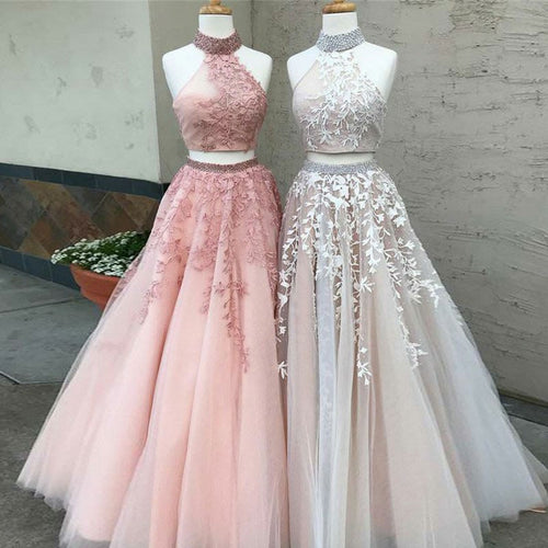 High Neck Lace Appliques Modest Tulle Two Piece Prom Dress,JKZ7114|Annapromdress