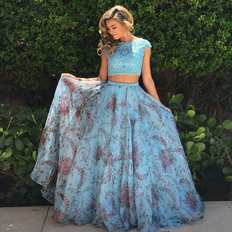Cap Sleeves Blue Floral Lace Top Two Piece Prom Dress,JKZ7116