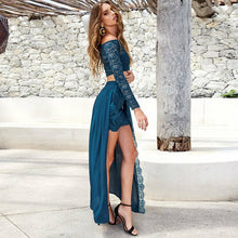 Off-the-Shoulder Blue Lace Two Piece Prom Dress,JKZ7117|Annapromdress