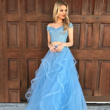 Off-the-Shoulder Blue Lace Top Two Piece Prom Dress,JKZ7118|Annapromdress