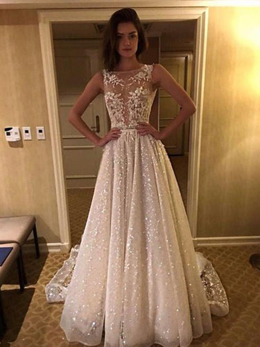 Vintage Lace Wedding Dress A Line Appliques Sparkly Wedding Dress Backless Bridal Dress JPE4841|annapromdress