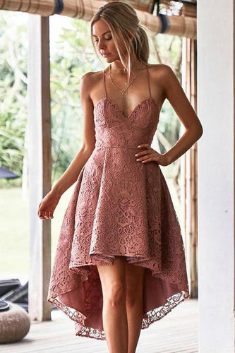 High Low Blush Pink Lace High Quality Prom Dresses Homecoming Dress for Party NA5101