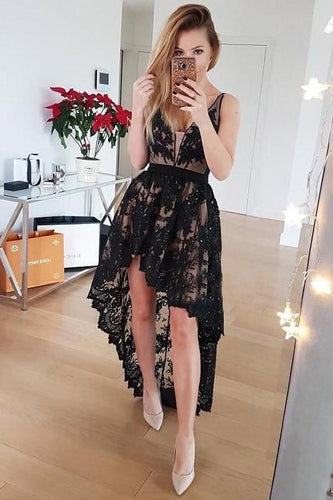 Front Short Long Back Black Lace V Neck Homecoming Dresses Prom Graduation Dress NA1442
