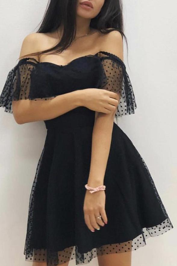 Sexy Off the Shoulder Black Lace Homecoming Dresses Mini Length Prom Graduation Dress NA1475