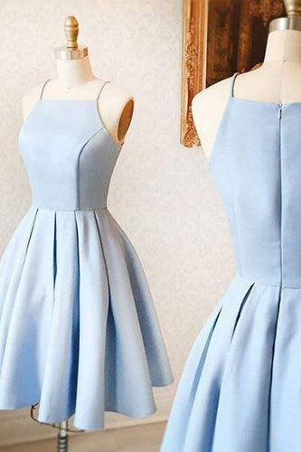 Light Blue Spaghetti Straps Elegant Short Prom Dresses Homecoming Dress AN278