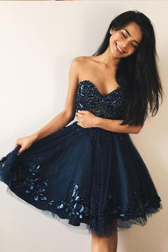 Navy Blue Sweetheart Hand Flowers Beaded Short Prom Dress Homecoming Dresses Hoco Gowns NA3014