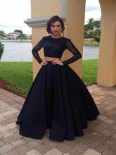 Long Sleeves Black Sequin 2 Pieces Prom Gowns Quinceanera Dress