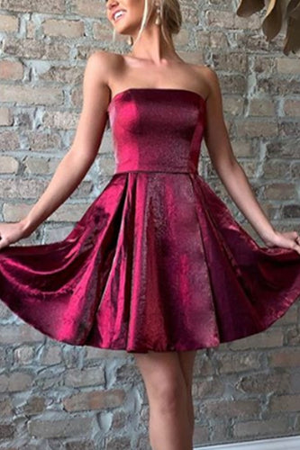 Strapless Mini Prom Homecoming Dress Red Silver Cocktail Party Dress ANN6204