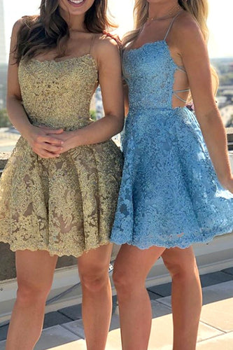 Spaghetti Straps Lace Mini Prom Homecoming Dress Gold / Blue Cocktail Party Dress ANN6307