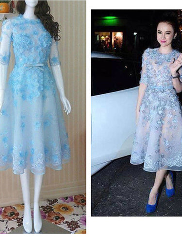 light sky blue prom dresses A-line Scoop Ankle-length Tulle  Homecoming Dress Short Prom Dress MK023