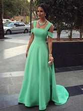 simple prom dresses A-line Straps Floor-length Satin Prom Dress/Evening Dress #MK028