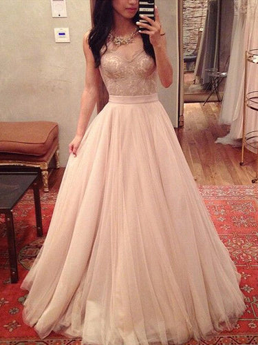 unique prom dresses A-line Sweetheart Floor-length Tulle Prom Dress Evening Dress MK032