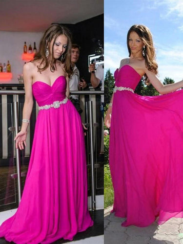 Fushia Prom Dresses A-line Sweetheart Floor-length Chiffon Prom Dress/Evening Dress #MK034