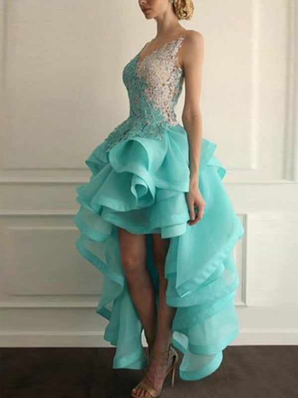 prom dresses high low A-line Scoop Asymmetrical Tulle Homecoming Dress/Short Prom #MK035