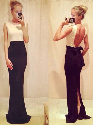 simple prom dresses Sheath/Column Scoop Floor-length Chiffon Prom Dress/Evening Dress #MK039