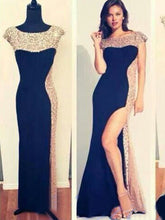 prom dresses long Sheath/Column Bateau Floor-length Chiffon Prom Dress/Evening Dress #MK042