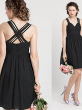 black prom dresses A-line Straps Short/Mini Chiffon Bridesmaid Dresses #MK043