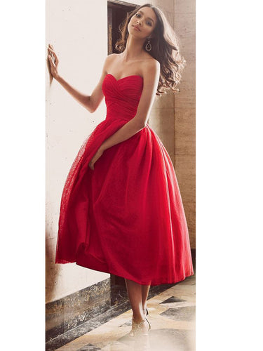 Red prom dresses 2017 A-line Sweetheart Ankle-length Tulle  Homecoming Dress Short Prom dress MK046