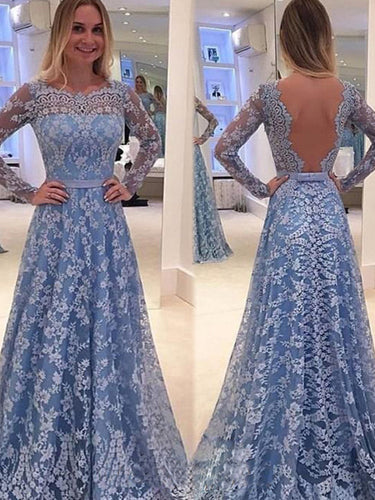 A-line prom dress Lace Long Sleeve Flower Collar 2017 Long Prom Dress Evening Dress MK0501