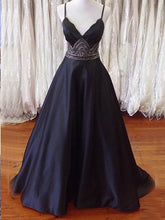 Long prom dress Simple V-neck Spaghetti Straps Prom Dress Evening Dress MK0502