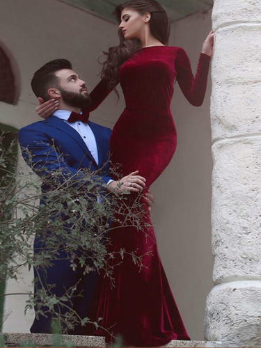 Red prom dress Mermaid Simple Long Sleeve Long Prom Dress Evening Dress MK0503
