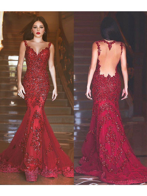 Mermaid prom dress  Gorgeous Appliques 2017 Long Prom Dress Evening Dress MK0519
