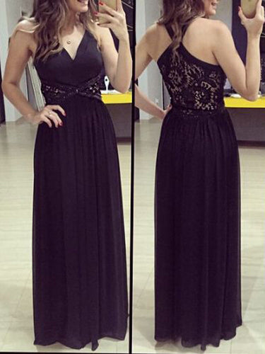 Black prom dresses A-line V-neck Floor-length Chiffon Prom Dress Evening Dress MK052
