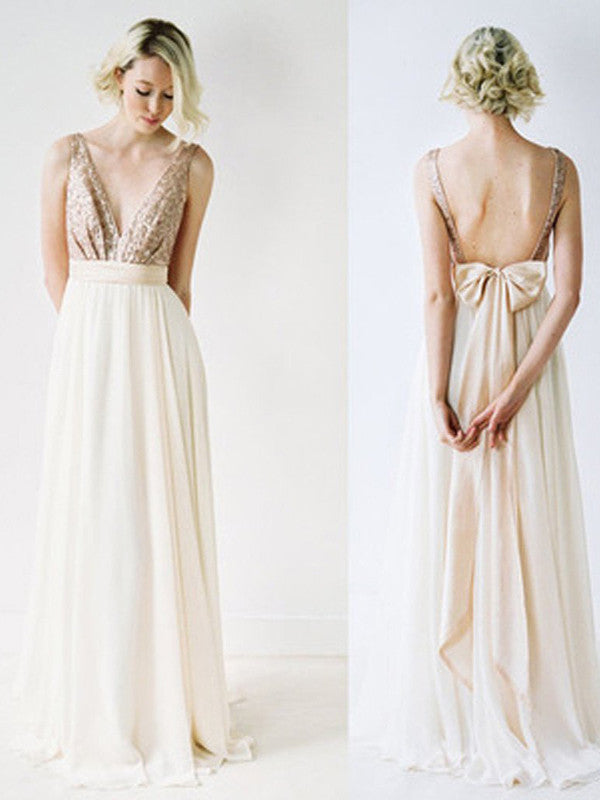 A-line Straps Floor-length Chiffon Prom Dress/Evening Dress #MK0555