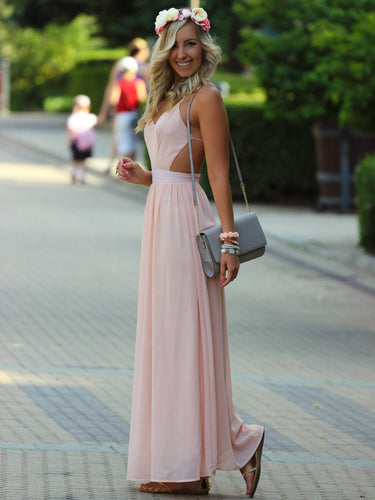 pretty prom dresses A-line Spaghetti Straps Floor-length Chiffon Prom Dress/Evening Dress #MK056