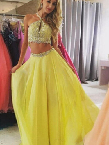 2 pieces  prom dresses,A-line Halter Floor-length Chiffon Prom Dress/Evening Dress #MK0577
