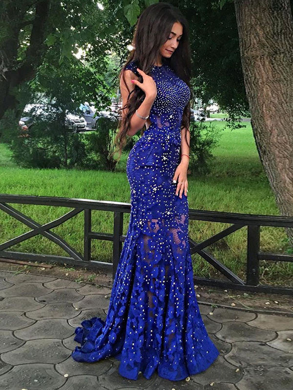 Trumpet/Mermaid Scoop Floor-length Tulle Prom Dress/Evening Dress #MK0599